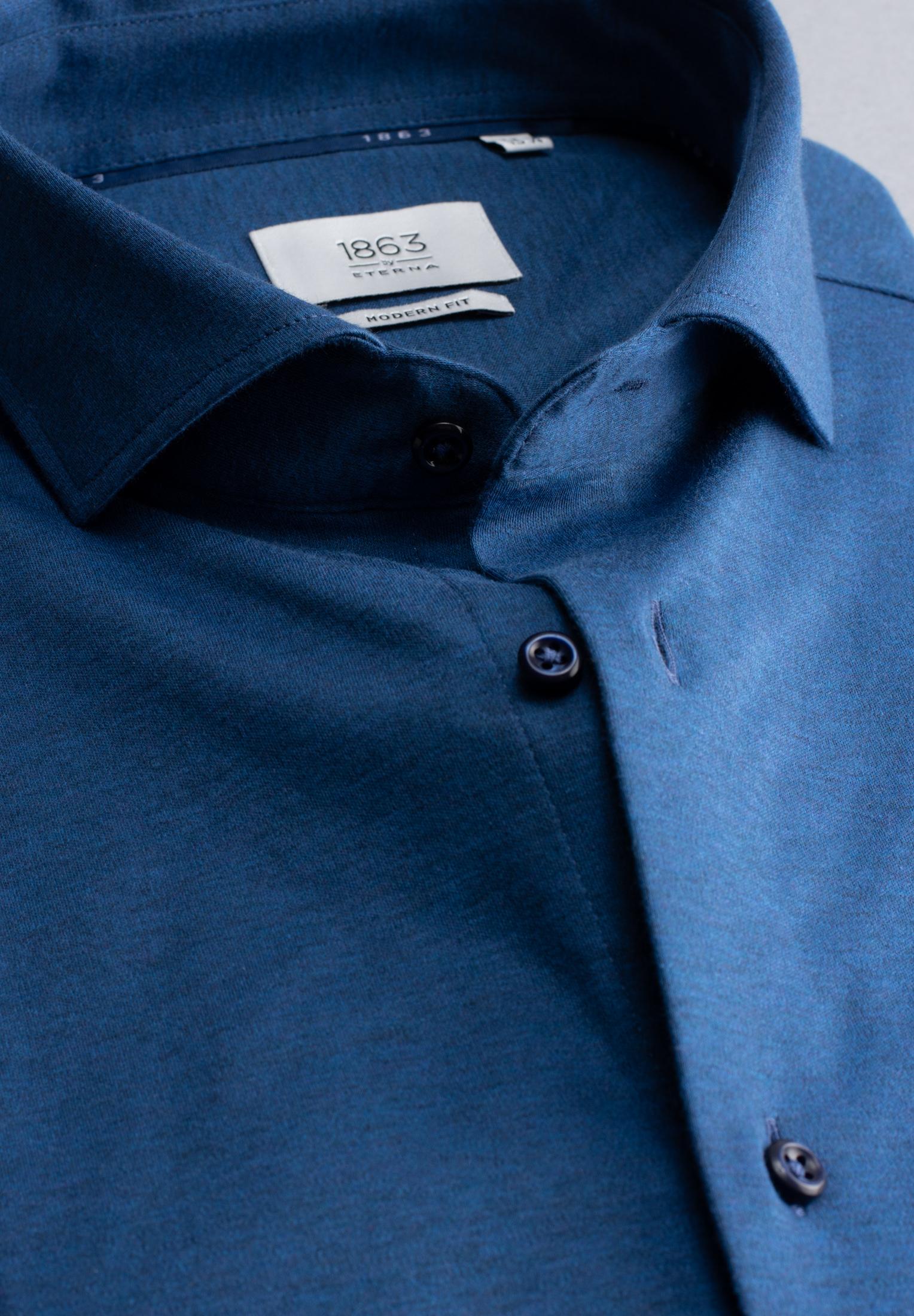 ETERNA 2159 Hemd Baumwolle blau meliert Langarm
