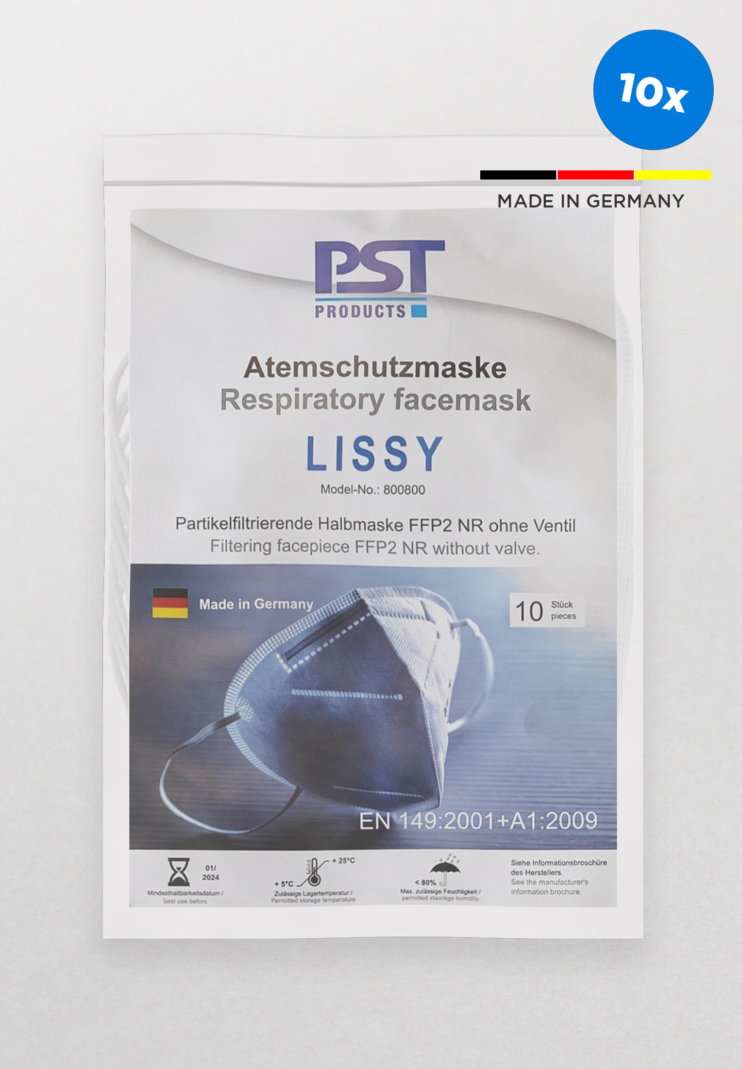 ETERNA 670 FFP2 FILTRATIONS-GESICHTSMASKE (MADE IN GERMANY) 10ER PACK AUS FFP2 MATERIAL WEISS UNIFARBEN