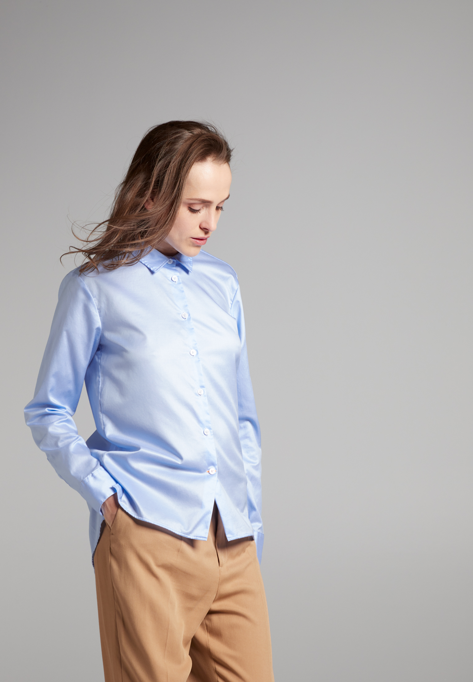 ETERNA 5850 Bluse Baumwolle hellblau