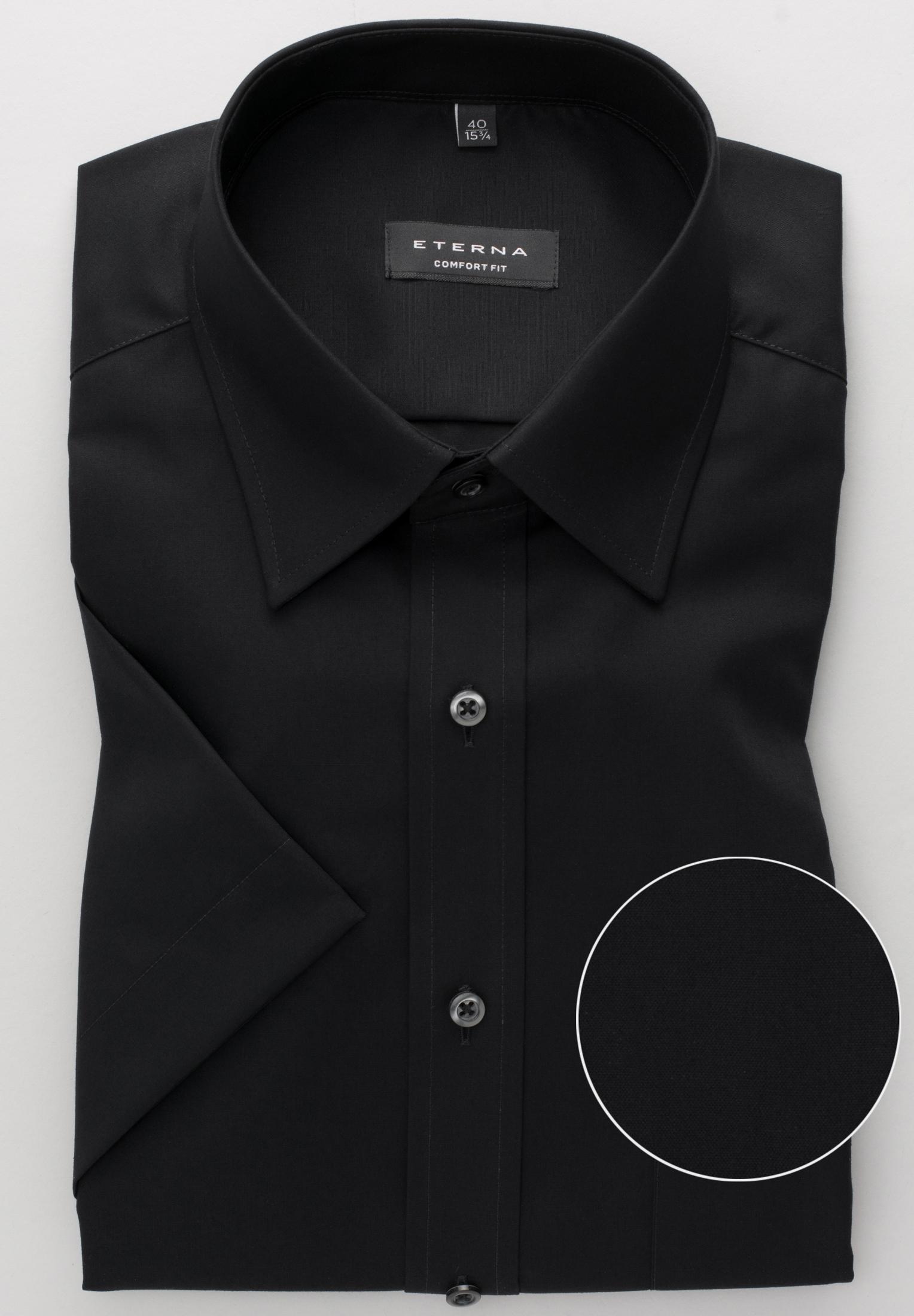 ETERNA 1100 Hemd Baumwolle schwarz Kurzarm
